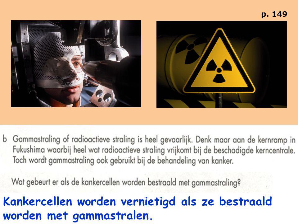 Kankercellen worden vernietigd als ze bestraald worden met gammastralen.