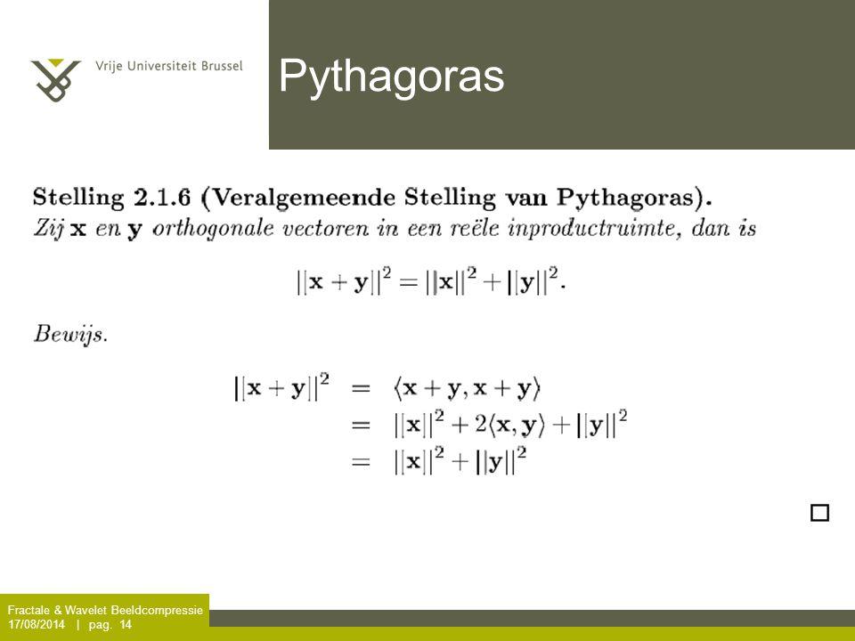 Fractale & Wavelet Beeldcompressie 17/08/2014 | pag. 14 Pythagoras