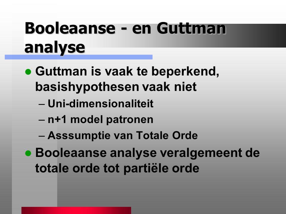 Booleaanse - en Guttman analyse Guttman is vaak te beperkend, basishypothesen vaak niet –Uni-dimensionaliteit –n+1 model patronen –Asssumptie van Totale Orde Booleaanse analyse veralgemeent de totale orde tot partiële orde