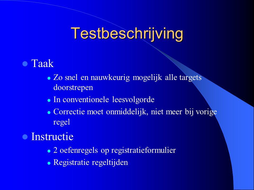 Testbeschrijving Taak Zo snel en nauwkeurig mogelijk alle targets doorstrepen In conventionele leesvolgorde Correctie moet onmiddelijk, niet meer bij