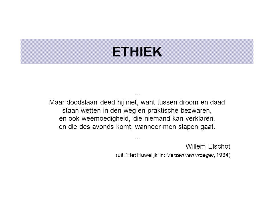 ETHIEK... Maar doodslaan deed hij niet, want tussen droom en daad staan wetten in den weg en praktische bezwaren, en ook weemoedigheid, die niemand ka