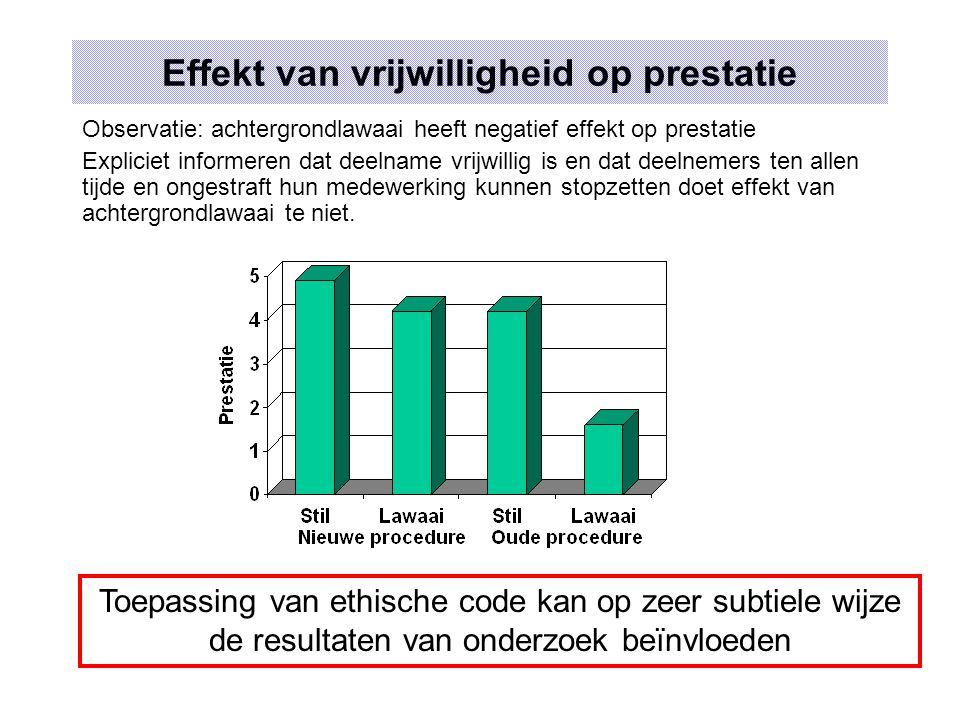 Effekt van vrijwilligheid op prestatie Observatie: achtergrondlawaai heeft negatief effekt op prestatie Expliciet informeren dat deelname vrijwillig i