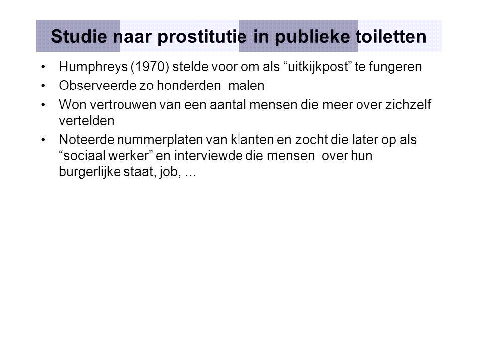 """Studie naar prostitutie in publieke toiletten Humphreys (1970) stelde voor om als """"uitkijkpost"""" te fungeren Observeerde zo honderden malen Won vertrou"""