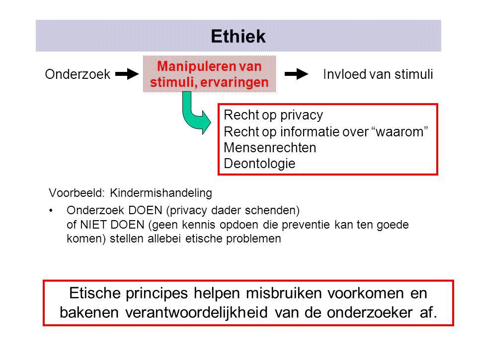 Ethiek Voorbeeld: Kindermishandeling Onderzoek DOEN (privacy dader schenden) of NIET DOEN (geen kennis opdoen die preventie kan ten goede komen) stell