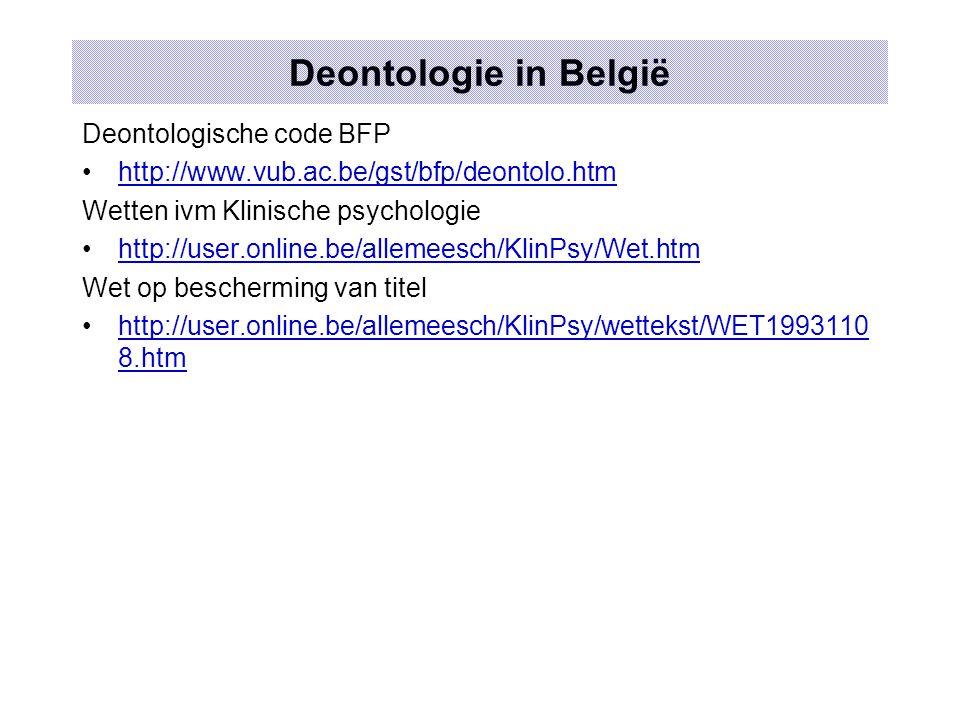 Deontologie in België Deontologische code BFP http://www.vub.ac.be/gst/bfp/deontolo.htm Wetten ivm Klinische psychologie http://user.online.be/allemee