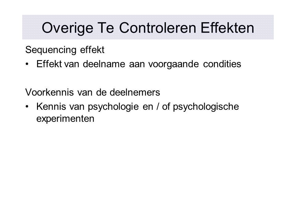 Overige Te Controleren Effekten Sequencing effekt Effekt van deelname aan voorgaande condities Voorkennis van de deelnemers Kennis van psychologie en