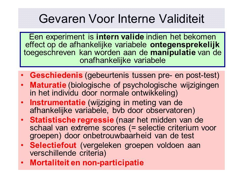 Gevaren Voor Interne Validiteit Geschiedenis (gebeurtenis tussen pre- en post-test) Maturatie (biologische of psychologische wijzigingen in het indivi