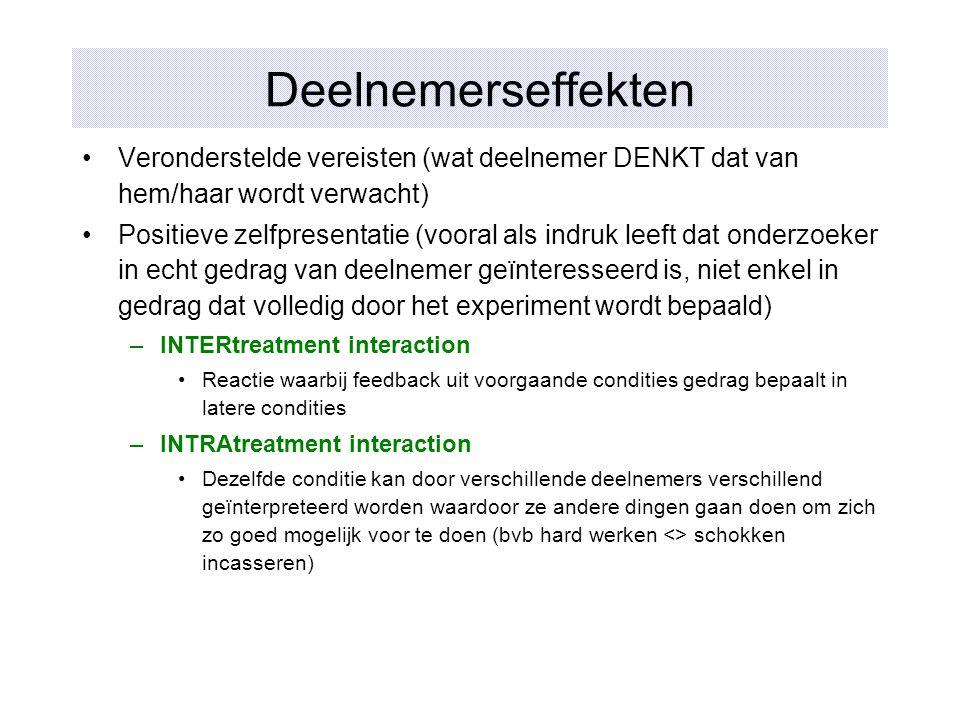 Deelnemerseffekten Veronderstelde vereisten (wat deelnemer DENKT dat van hem/haar wordt verwacht) Positieve zelfpresentatie (vooral als indruk leeft d