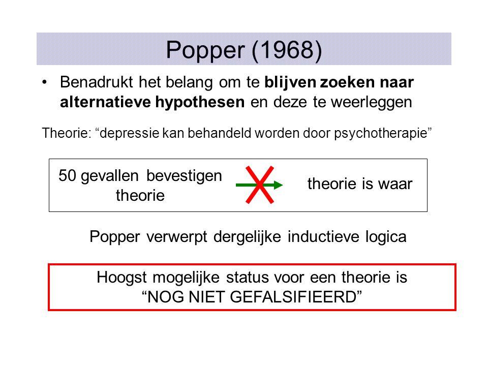 Popper (1968) Benadrukt het belang om te blijven zoeken naar alternatieve hypothesen en deze te weerleggen Theorie: depressie kan behandeld worden door psychotherapie 50 gevallen bevestigen theorie theorie is waar Popper verwerpt dergelijke inductieve logica Hoogst mogelijke status voor een theorie is NOG NIET GEFALSIFIEERD
