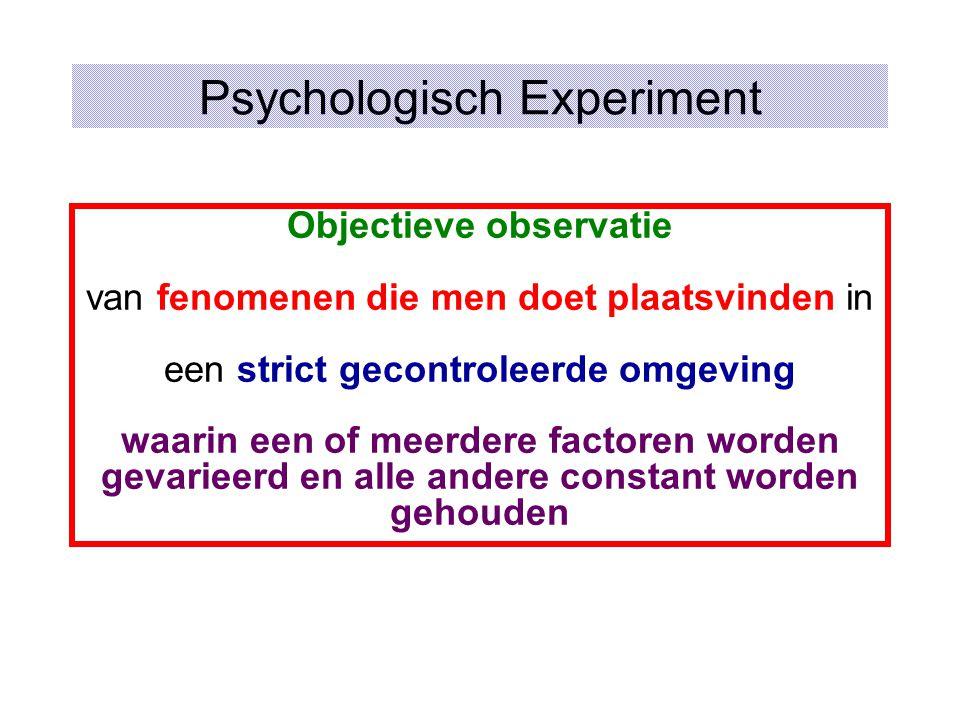 Psychologisch Experiment Objectieve observatie van fenomenen die men doet plaatsvinden in een strict gecontroleerde omgeving waarin een of meerdere factoren worden gevarieerd en alle andere constant worden gehouden