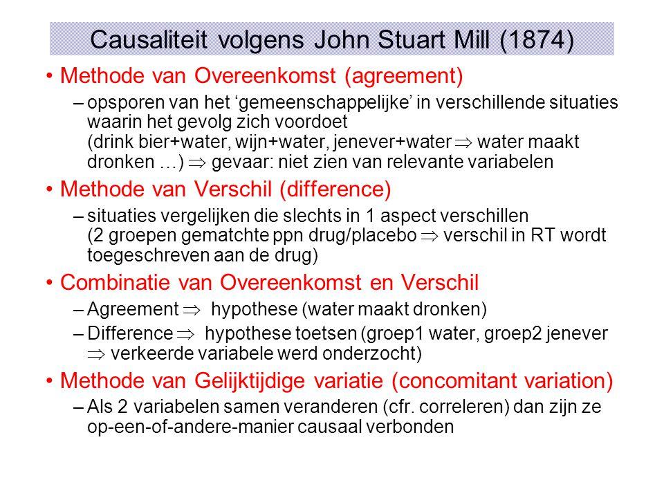 Causaliteit volgens John Stuart Mill (1874) Methode van Overeenkomst (agreement) –opsporen van het 'gemeenschappelijke' in verschillende situaties waarin het gevolg zich voordoet (drink bier+water, wijn+water, jenever+water  water maakt dronken …)  gevaar: niet zien van relevante variabelen Methode van Verschil (difference) –situaties vergelijken die slechts in 1 aspect verschillen (2 groepen gematchte ppn drug/placebo  verschil in RT wordt toegeschreven aan de drug) Combinatie van Overeenkomst en Verschil –Agreement  hypothese (water maakt dronken) –Difference  hypothese toetsen (groep1 water, groep2 jenever  verkeerde variabele werd onderzocht) Methode van Gelijktijdige variatie (concomitant variation) –Als 2 variabelen samen veranderen (cfr.