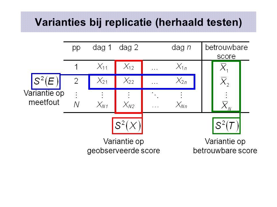 Replicatie onhaalbaar  1 meting in populatie Gemiddelde van de geobserveerde score Hypothese 1 Hypothese 2 Y is willekeurige variabele waarvan E geen deel is immers: X=T+E zodat: r(E,X)>0 GEVOLG: r(E,T)=0 Eigenschappen Gemiddelde geobserveerde score = Gemiddelde betrouwbare score