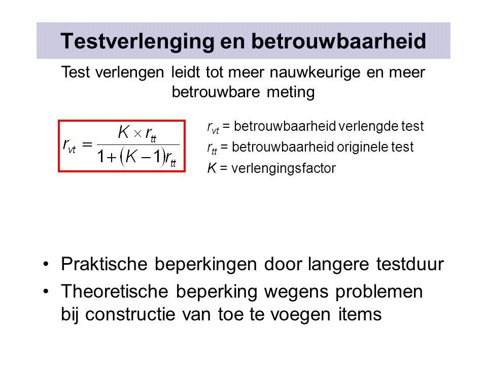 Testverlenging en betrouwbaarheid Praktische beperkingen door langere testduur Theoretische beperking wegens problemen bij constructie van toe te voeg