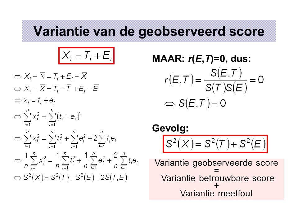 Betrouwbaarheid bepalen Verband met standaard meetfout Betrouwbaarheid: (reliability) Standaard meetfout: (standard error of measurement) Probleem: er zijn altijd 2 onbekenden: S²(T) en r xx' of S(E) en r xx'  Nood aan schattingsmethoden Goede test r xx' =.95