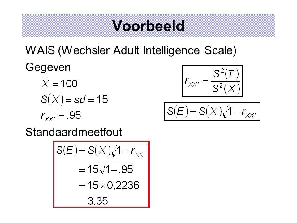 Standaardmeetfout: verloop en interpretatie 00,10,20,30,40,50,60,70,80,9 1 S(X)S(X) S(E)S(E) r xx'.6826.9546.9972 TiTi T i +S(E) X
