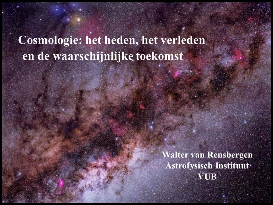 Het expanderende heelal (3 dimensionaal) ≈ De rijzende chocaladecake (2 dimensionaal) Elk stukje chocolade loopt weg van elk ander stukje chocolade En wel zo dat de wegloopsnelheid evenredig is met de afstand Dat doen de clusters van melkwegstelsels ook (Wet van Hubble)