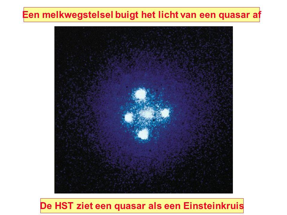 Een melkwegstelsel buigt het licht van een quasar af De HST ziet een quasar als een Einsteinkruis