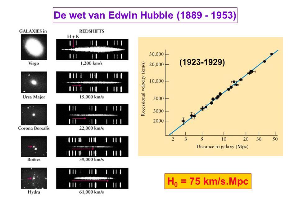 De wet van Edwin Hubble (1889 - 1953) H 0 = 75 km/s.Mpc (1923-1929)
