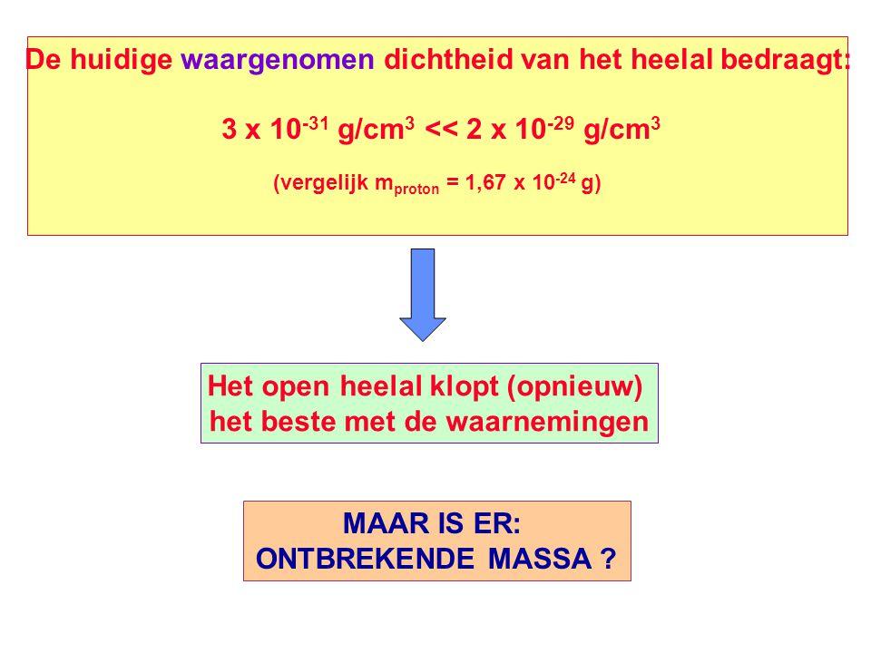 De huidige waargenomen dichtheid van het heelal bedraagt: 3 x 10 -31 g/cm 3 << 2 x 10 -29 g/cm 3 (vergelijk m proton = 1,67 x 10 -24 g) Het open heela