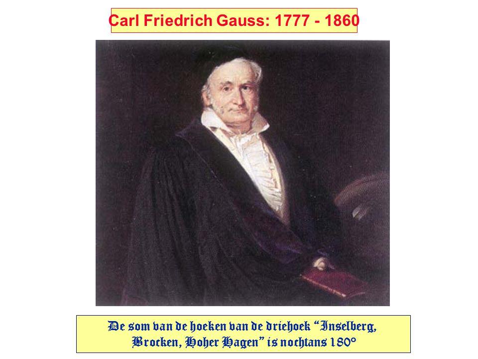 """Carl Friedrich Gauss: 1777 - 1860 De som van de hoeken van de driehoek """"Inselberg, Brocken, Hoher Hagen"""" is nochtans 180°"""