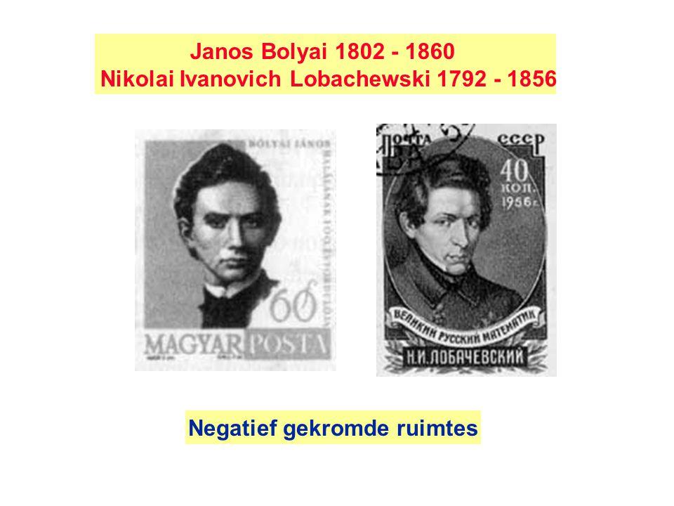 Janos Bolyai 1802 - 1860 Nikolai Ivanovich Lobachewski 1792 - 1856 Negatief gekromde ruimtes