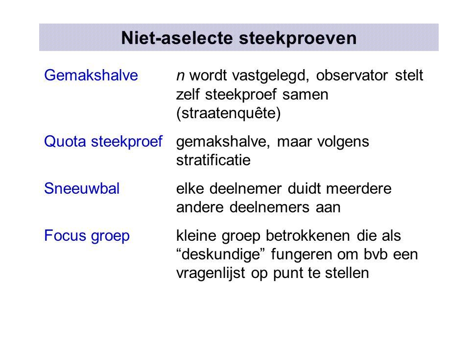 Steekproeffouten en Niet-steekproeffouten Steekproeffouten toevalligeVb.