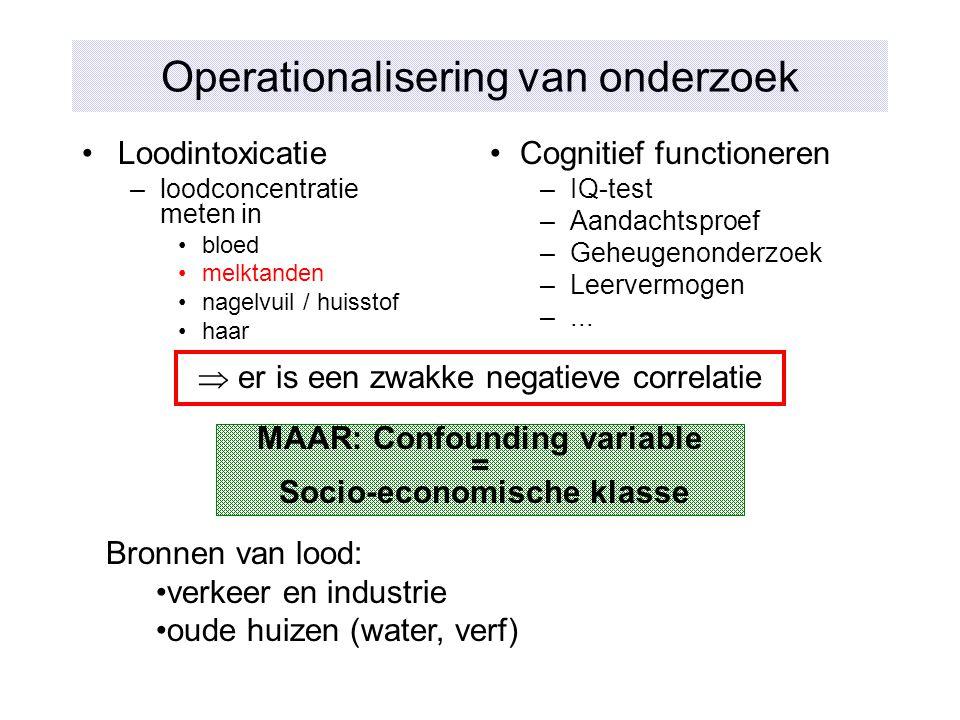 Operationalisering van onderzoek Loodintoxicatie –loodconcentratie meten in bloed melktanden nagelvuil / huisstof haar Cognitief functioneren –IQ-test