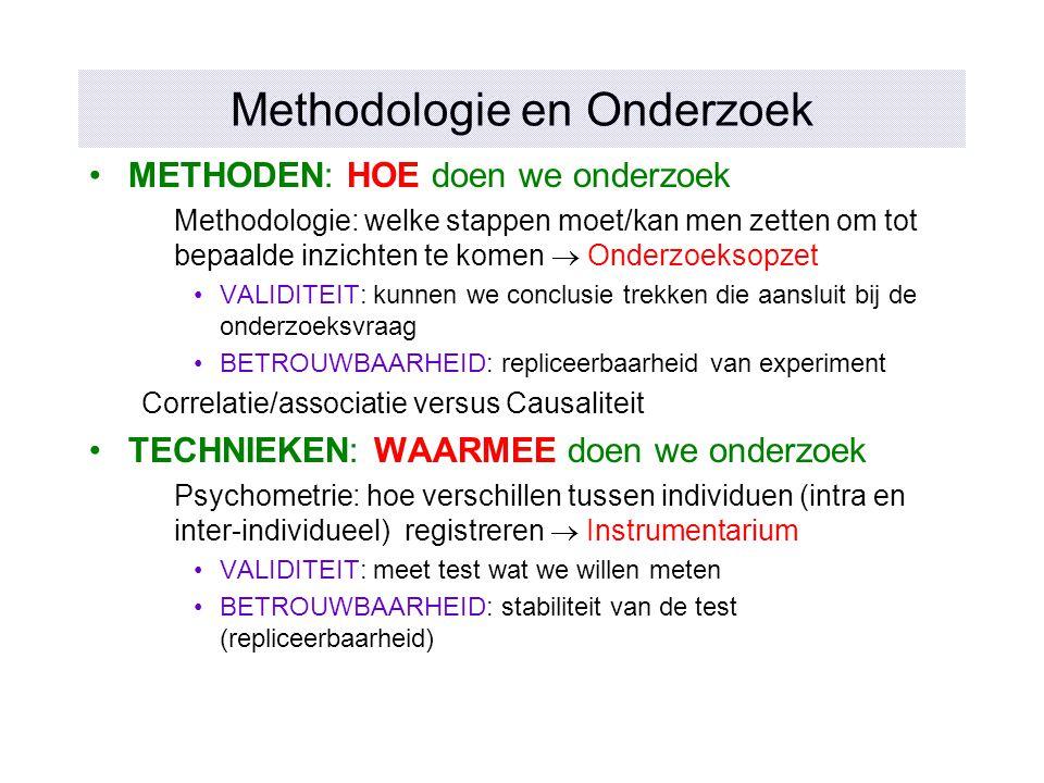 Methodologie en Onderzoek METHODEN: HOE doen we onderzoek Methodologie: welke stappen moet/kan men zetten om tot bepaalde inzichten te komen  Onderzo