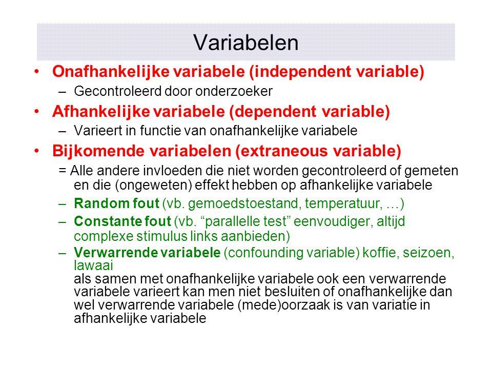 Variabelen Onafhankelijke variabele (independent variable) –Gecontroleerd door onderzoeker Afhankelijke variabele (dependent variable) –Varieert in fu