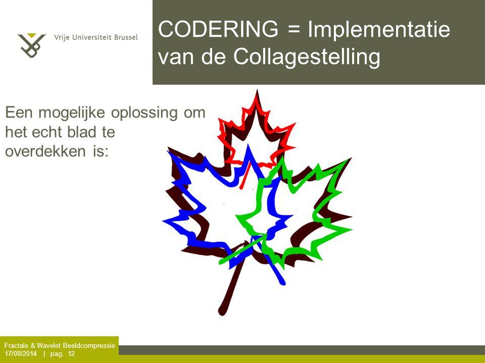 Fractale & Wavelet Beeldcompressie 17/08/2014 | pag. 12 CODERING = Implementatie van de Collagestelling Een mogelijke oplossing om het echt blad te ov