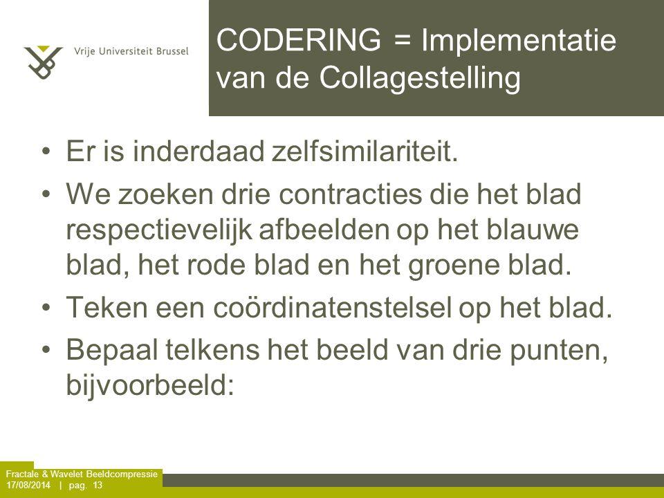 Fractale & Wavelet Beeldcompressie 17/08/2014 | pag. 13 CODERING = Implementatie van de Collagestelling Er is inderdaad zelfsimilariteit. We zoeken dr