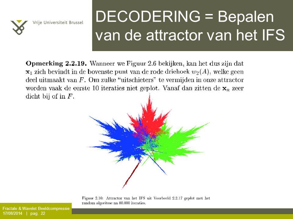 Fractale & Wavelet Beeldcompressie 17/08/2014 | pag. 22 DECODERING = Bepalen van de attractor van het IFS