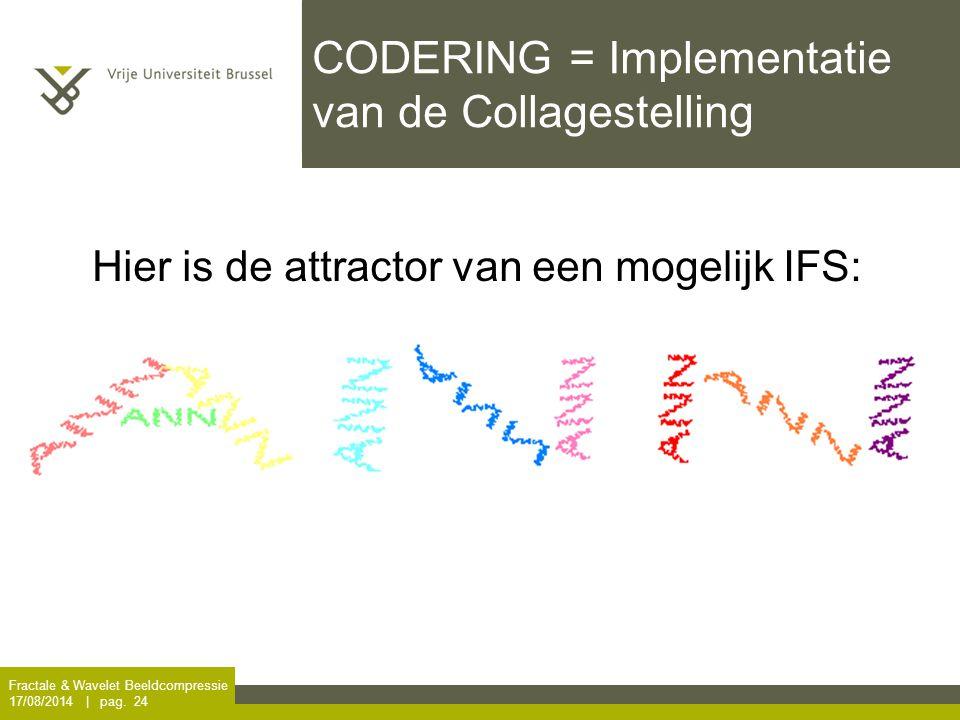 Fractale & Wavelet Beeldcompressie 17/08/2014 | pag. 24 CODERING = Implementatie van de Collagestelling Hier is de attractor van een mogelijk IFS: