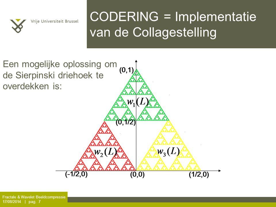 Fractale & Wavelet Beeldcompressie 17/08/2014 | pag. 7 CODERING = Implementatie van de Collagestelling Een mogelijke oplossing om de Sierpinski drieho