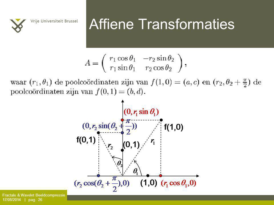 Fractale & Wavelet Beeldcompressie 17/08/2014 | pag. 26 Affiene Transformaties