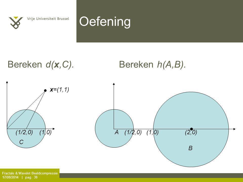 Fractale & Wavelet Beeldcompressie 17/08/2014 | pag. 38 Oefening x=(1,1) C (1,0)(1/2,0) A (2,0)(1/2,0) B Bereken d(x,C). Bereken h(A,B). (1,0)