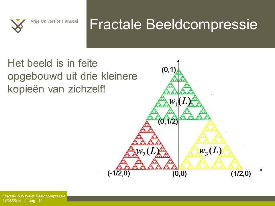 Fractale & Wavelet Beeldcompressie 17/08/2014 | pag. 10 Fractale Beeldcompressie Het beeld is in feite opgebouwd uit drie kleinere kopieën van zichzel
