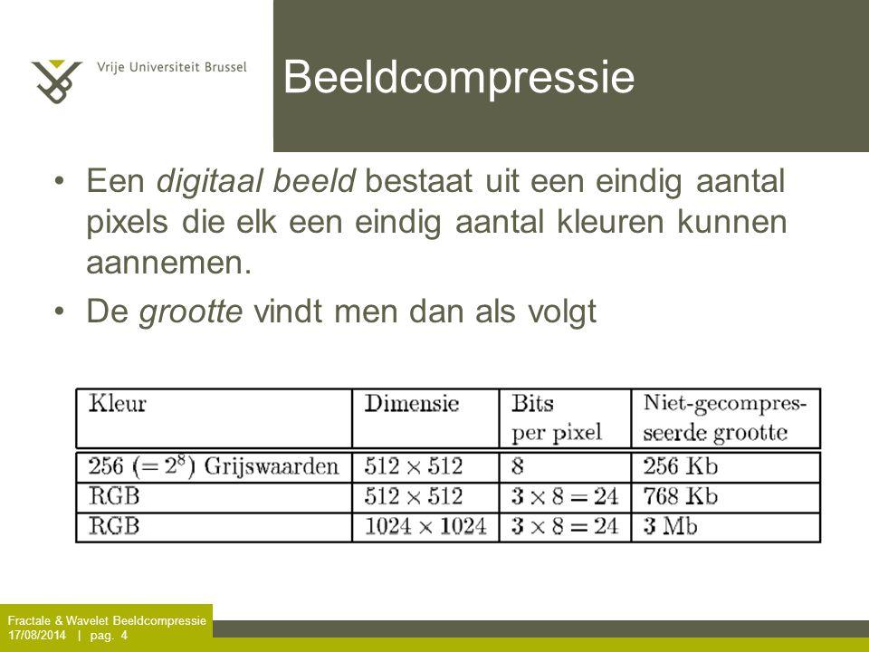 Wiskunde snelt ter hulp … Fractale & Wavelet Beeldcompressie 17/08/2014 | pag. 5