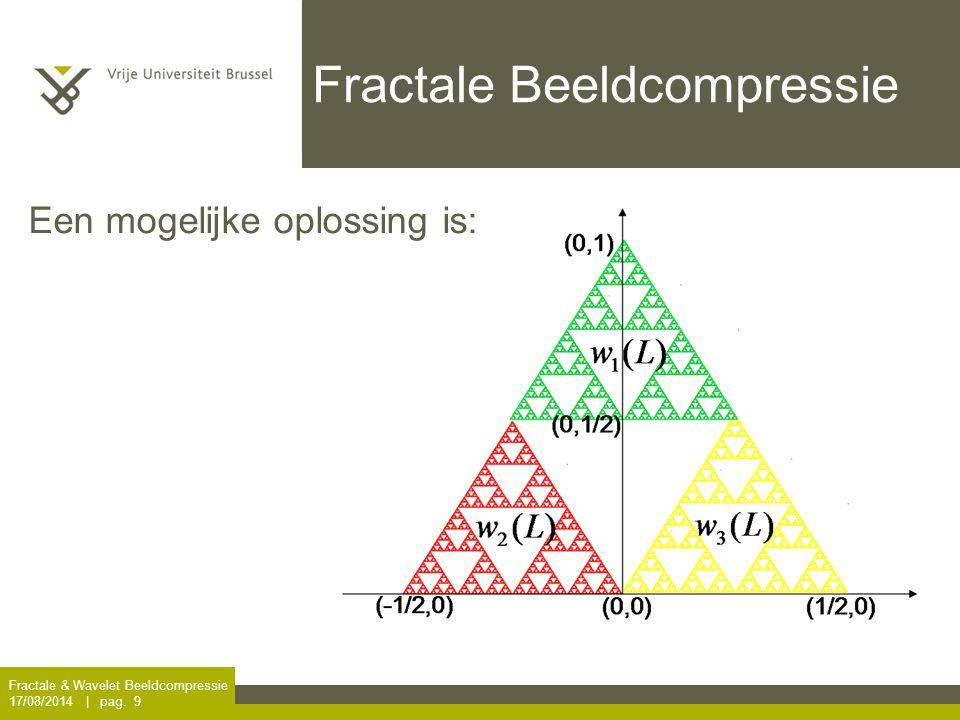 Fractale & Wavelet Beeldcompressie 17/08/2014 | pag. 9 Fractale Beeldcompressie Een mogelijke oplossing is: