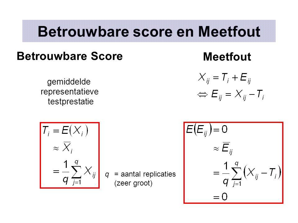 Betrouwbare score en Meetfout q = aantal replicaties (zeer groot) Betrouwbare Score gemiddelde representatieve testprestatie Meetfout