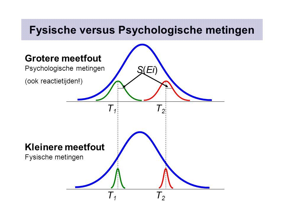 Fysische versus Psychologische metingen T1T1 T2T2 T1T1 T2T2 Grotere meetfout Psychologische metingen (ook reactietijden!) Kleinere meetfout Fysische metingen S(Ei)