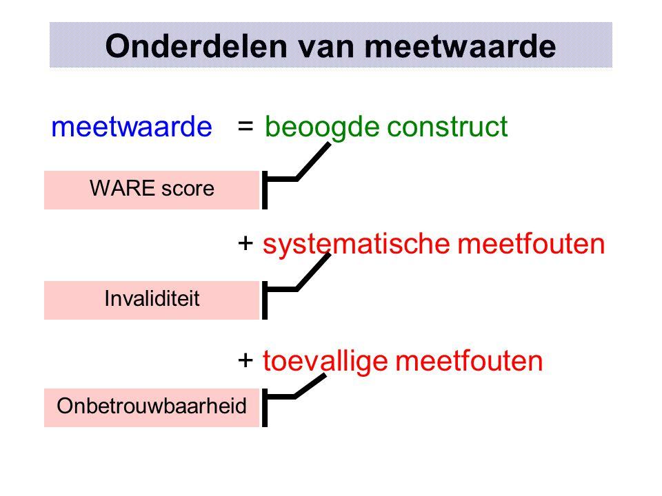 Onderdelen van meetwaarde meetwaarde=beoogde construct + systematische meetfouten + toevallige meetfouten Onbetrouwbaarheid Invaliditeit WARE score