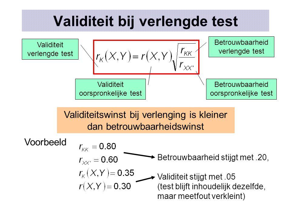 Validiteit bij verlengde test Betrouwbaarheid verlengde test Validiteit oorspronkelijke test Betrouwbaarheid oorspronkelijke test Validiteit verlengde