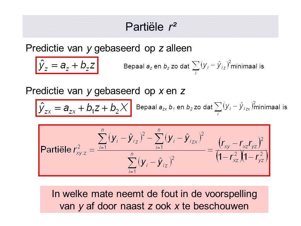 Partiële r² Predictie van y gebaseerd op z alleen Bepaal a z en b z zo dat minimaal is Bepaal a zx b 1 en b 2 zo dat minimaal is Predictie van y gebas