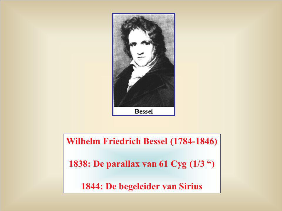 "Wilhelm Friedrich Bessel (1784-1846) 1838: De parallax van 61 Cyg (1/3 "") 1844: De begeleider van Sirius"