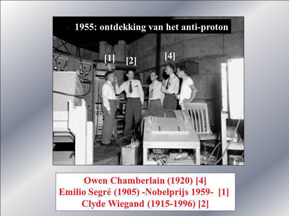 Fred Reynes (1918-1998) -Nobelprijs 1995- en Clyde Cowan ontdekken in 1956 het neutrino en het anti-neutrino