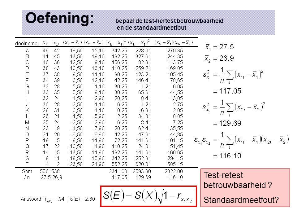 Oefening: bepaal de test-hertest betrouwbaarheid en de standaardmeetfout Test-retest betrouwbaarheid .