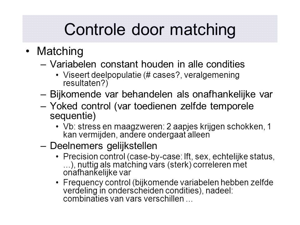 Controle door matching Matching –Variabelen constant houden in alle condities Viseert deelpopulatie (# cases?, veralgemening resultaten?) –Bijkomende