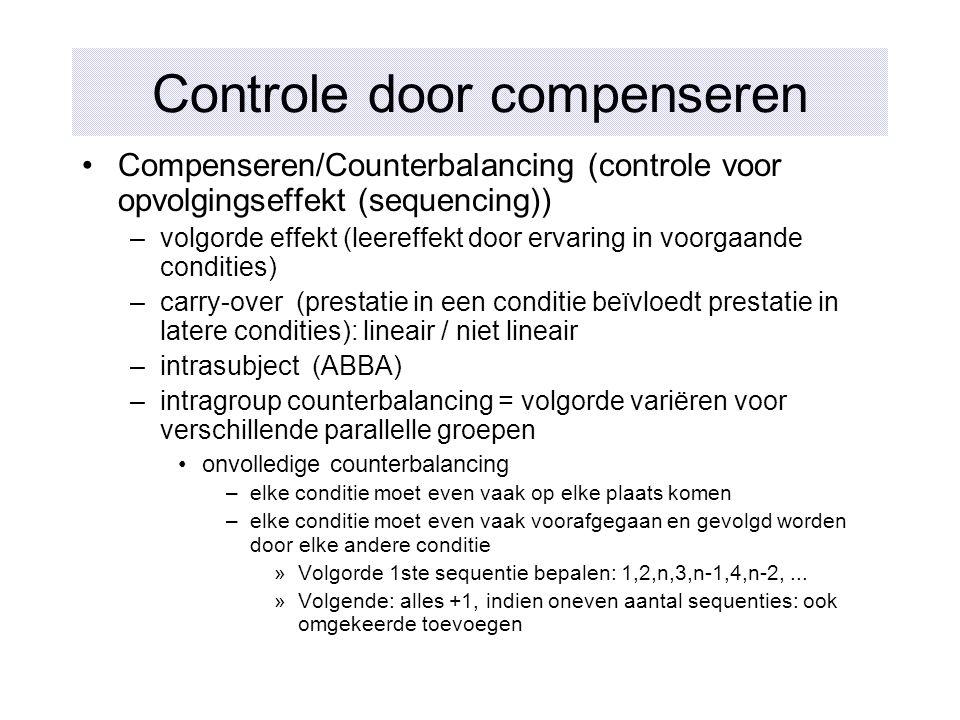 Controle door compenseren Compenseren/Counterbalancing (controle voor opvolgingseffekt (sequencing)) –volgorde effekt (leereffekt door ervaring in voo