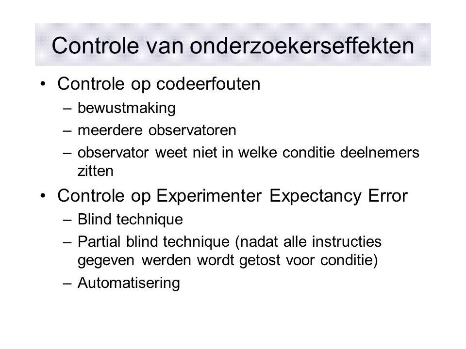 Controle van onderzoekerseffekten Controle op codeerfouten –bewustmaking –meerdere observatoren –observator weet niet in welke conditie deelnemers zit